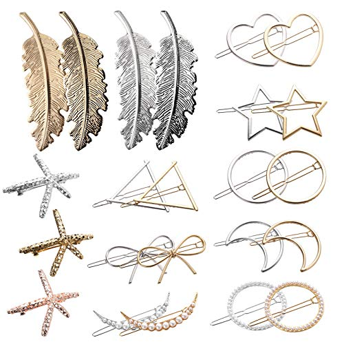 Yarlung 23 Pack Metal Hair Clips, Geometric Gold Hairpins Silver Hair Barrettes with Hollow Circle, Triangle, Bow, Moon, Heart, Star, Leaf, Starfish, Pearl for Personality Hair Accessories, 10 Styles