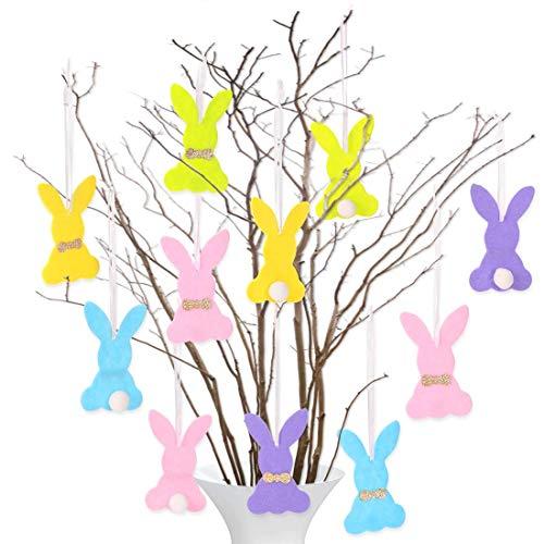 Bluelves onejo Decorativo Pascua, 20 PCS Conejos de Pascua, Decoración de Pascua, Figura de Conejos de Pascua,Deco de Conejito de Pascua, Colgantes de Pascua de Fieltro