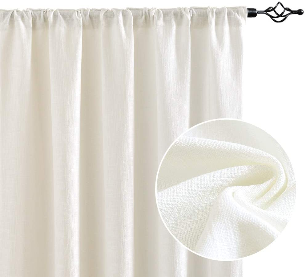 JINCHAN Discount mail order Curtains Ivory 84 Opening large release sale inch Curtain Window Rod Bedroom Pocket