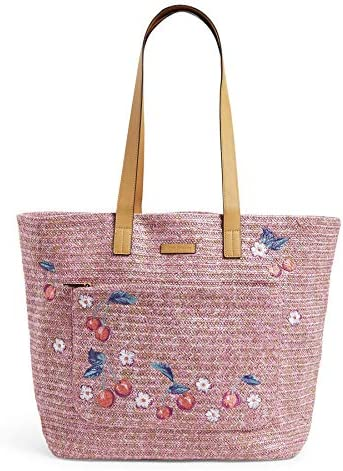 Vera Bradley Women s Front Pocket Straw Tote Bag Pink Cherry product image