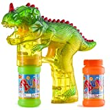 Prextex Dinosaur Bubble Gun Shooter Light Up Bubbles Blower with LED Flashing Lights and Sounds Dinosaur Toys for Kids, Toys Boys and Girls.