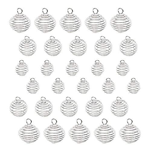 Fengyuanhong 30PCS / Set 3 Superficie Jaulas Espiral de Plata de Bolas Colgantes de Piedra Plateado Titular Colgantes del Collar para la joyería