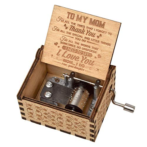 fezlens Wood Music Boxes You are My Sunshine Mum Antique Engraved Wooden Musical Box Gifts for...