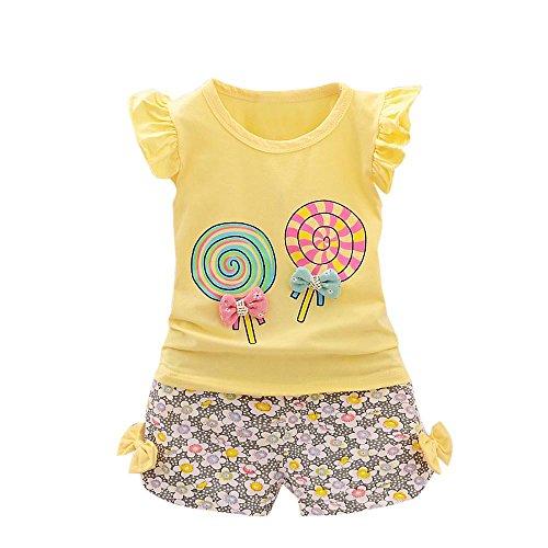 YWLINK 2PCS MäDchen Süß Outfits Lolly RüSchen KappenhüLse T-Shirt Tops + Blume Drucken Kurze Hosen Urlaub Strand Set(Gelb,100)
