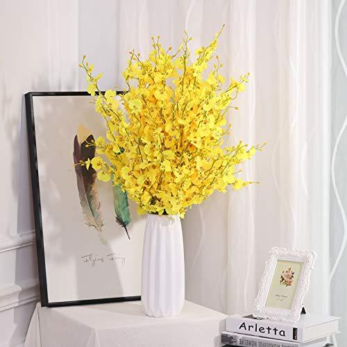 Dansende Orchidee Simulatie Nep Bloem Set Europese Droog Boeket Woonkamer Eettafel TV Kast Versierd met Orchidee Ornament Dansende Orchidee 10 takken en hoge 30cm geometrische vaas