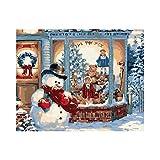 Muñeco de nieve frente a la tienda.-Pintura al óleo-Bricolaje pintura por número decoración de casa, pintura al óleo, regalo para adultos o niños 16x20 pulgadas sin marco