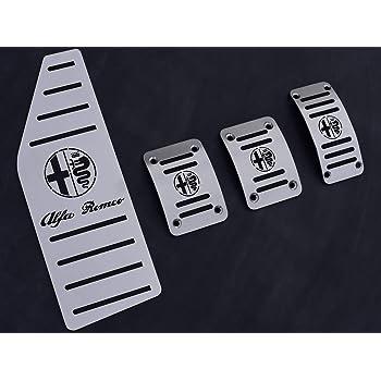 Pedale Set Mit Fußstütze Stahlabdeckung Für Alfa Romeo Mito 4 Stück Pedalkappen Pedal Brems Gas Kupplungspedal Fußablage Fußpedal Edelstahl Gebürstet Komplett Auto