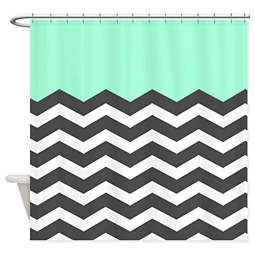 CafePress Mint Black White Chevron Decorative Fabric Shower Curtain