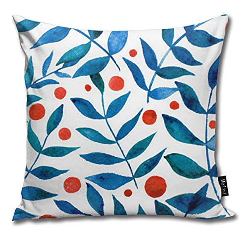 Paiman Aquarell Zweige und Beeren - Orange und Blau Kissenbezüge 45*45cm für Couch