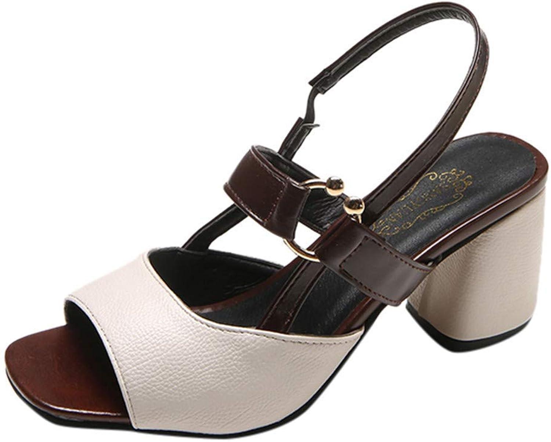 Ghssheh Caopixx Women's Heel Peep Toe Casual shoes Buckle Strap Pumps Party High Heels Work shoes Black US 7.5