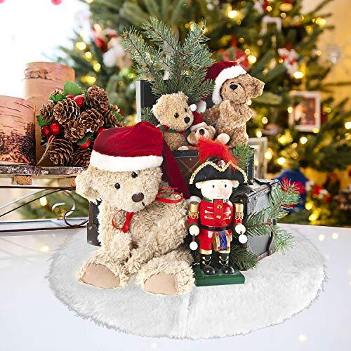 Hengda Plüsch Weihnachtsbaum Röcke Weiß Weihnachtsbaumdecke Weihnachtsschmuck Kunstfell Weihnachtsbaumschürze für Weihnachten und Neujahr Party Urlaub Heimdekorationen(78cm)