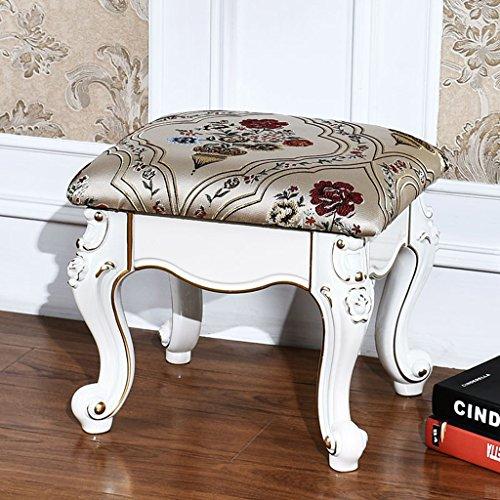 Tabouret de style européen chaussure tabouret de table basse tabouret en tissu sculpté banc français canapé, tabouret de repos,40cm de long et 35cm de large (Design : D)