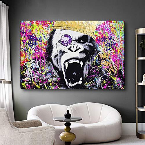 YuanMinglu Laufende Pferde Tiermalerei Hinter Wandkunst -Kunst HD Malerei - Kunstdruck modern Wandbilder Rahmenlose Malerei60x90cm