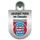 Einsatzschild Windschutzscheibe incl. Saugnapf - Jagdbetrieb im Einsatz - 309730 - incl. Regionen nach Wahl Farbe Region Thüringen