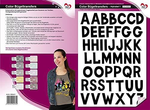 Color Bügeltransfers, DIN A4, ABC, Alphabet | Buchstaben auf Transfer-Folien für Textilien wie T-Shirts & Taschen | Transfer-Bilder schnell & einfach aufbügeln | DIY Textildesign (schwarz)