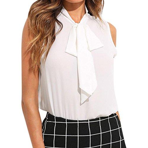 Preisvergleich Produktbild OYSOHE Bluse Damen Weiß,  Neueste Sommer Frauen Chiffon Fliege Weiß Büro Arbeit beiläufiges Behälter Blusen