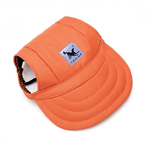 Leson Baseball Caps Hats with Neck Strap Adjustable Comfortable Ear Holes for Small Medium and Large Dogs in Ourdoor Sun Protection (M, Orange)