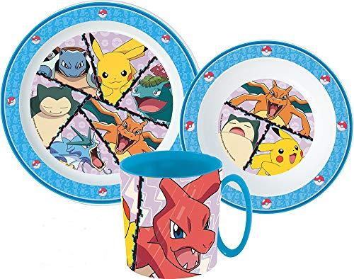 Pokemon Kinder-Geschirr Set mit Teller, Müslischale und Trinkbecher
