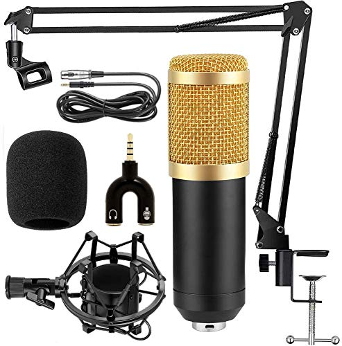 Bulfyss Combo of BM 800 Professional Condenser Microphone with 3.5 mm Audio Jack Converter for Mobile, Computer and Microphone Stand Mic Sound Studio Recording Dynamic (Black)