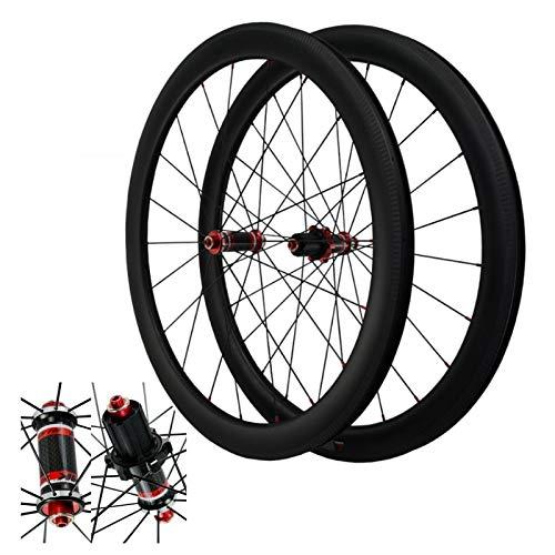 ZNND Ruedas de Bicicleta de Carbono,Juego Ruedas Bicicleta de Carretera 700C Freno En V Liberación Rápida 4 Peilin Volante de 7/8/9/10/11/12 Velocidades (Color : Red hub, Size : 55mm)