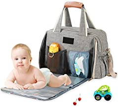 Baby Diaper Bag, Large Stylish Tote Convertible Travel Baby Bag for Boys Girls with Changing Pad Insulated Pockets