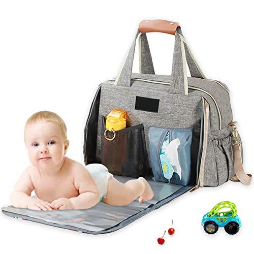 Baby Wickeltasche Große, ICEIVY Baby Tasche Wasserdicht Handtasche XXL Mit Extender Wickelunterlage und Verstellbaren Schultergurt, Multifunktionale Babytasche Baby Reise Tasche Für Mama und Papa