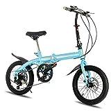 Adult Folding Bicycle Lightweight Unisex Men City Bike 16-inch Wheels Aluminium Frame Ladies Shopper Bike with Adjustable Handlebar & Seat,6 Speed,Disc Brake,Blue