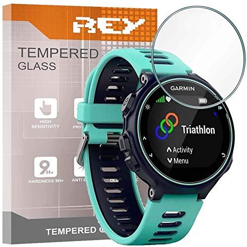 REY 3X Protector de Pantalla para Garmin Forerunner 735XT, Cristal Vidrio Templado Premium