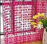 Geo Nature Polyester Eyelet Door Curtain (7 feet, Dark Pink) - Pack of 2 Piece