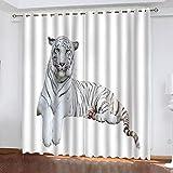 Forest Tiger White Tiger Cortinas Personalizadas Par De Cortinas...