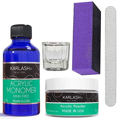 Karlash Professional Polymer Economy Kit Acrylic Powder Crystal Clear 0.5 oz and Acrylic Liquid Monomer 1 oz for Doing Acrylic Nails, MMA free, Ultra Shine and Strong Nails Acrylic Nail