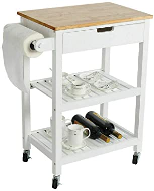 Space-Saving Design, Made Of Wood, Strength And Durability, Extra Storage, Wood Cabinet Rolling Kitchen Cart Island Storage C