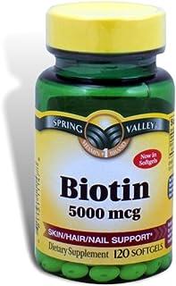 Spring Valley - Biotin 5000 Mcg, Super Potency, 120 Softgels by Spring Valley