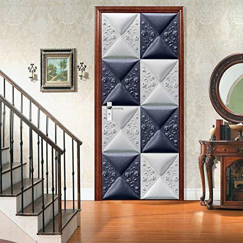 PKUOUFG Geometría tallada en azul 3d Carteles Pegatinas de 95cmx215cm Mural puerta cristal poster paisaje armario Decoración Hogar Vinilo playa Guardería Niños extraíble Sala Estar Espacio