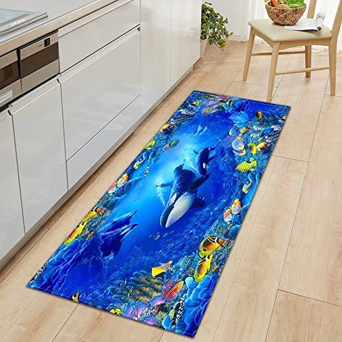 OPLJ 3D Underwater World Küchenmatte Eingang Fußmatte Schlafzimmer Bodendekoration Wohnzimmer Teppich rutschfeste Fußmatte A4 50x160cm