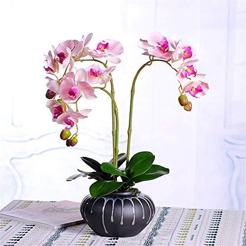 ACZZ Decorazione Fiore Artificiale, Grande Stile Orientale E Arrangiamenti Di Orchidee Con Vaso In Ceramica Decorazioni Per Centrotavola Per La Casa Di Nozze, Rosa,Rosa