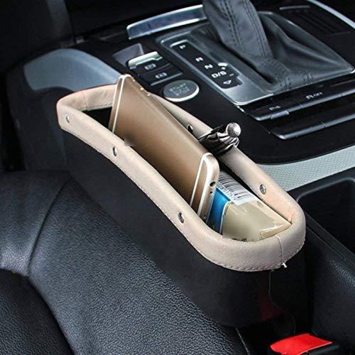 PanYFDD Asiento de Coche Universal Lateral Gap Filler Asiento for hendiduras Bolsillos PU Anti-Fugas Caja de almacenaje Organizador for BMW E46 (Color : Beige)