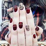 ZHEN Smalto per unghie corto Unghie finte corte con punta per unghie Smalto per unghie completo con glitter dorati