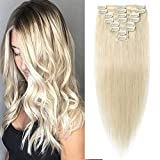 S-noilite Clip in Human Hair Extension 8 Inch 45g 8 Pieces 18 Clips Clip on Remy Hair Extensions Blonde Thin Straight Short Clip in Hairpieces For Women #60 Platinum Blonde
