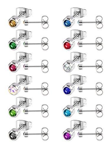 12 Paia Orecchino a Bottone in Acciaio Inossidabile Zirconia Piercing ad Orecchio a Bottone, 12 Colori