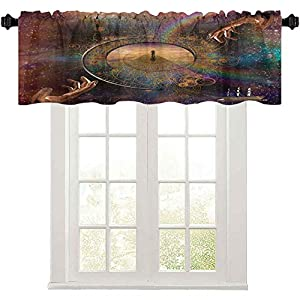 Rod Pocket Curtain Valance, Double Exposure Outer Space Mixed with Earthly Symbolic Eternity Details Artsy Print, Pocket Window Curtains Valance for Kitchen Room, Purple Tan