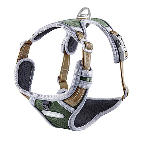 No Pull Dog Harness, Adjustable Dog Harness Reflective Working Training Breathable Soft Padded Pet Vest Easy Control Handle for Small Medium Large Dogs (S(15-20