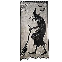 ZCZDZ ハロウィーンの魔女ハロウィーンバットカーテンカーテンカーテンカーテンハロウィン黒のレースのカーテンカーテン (Color : Black1)