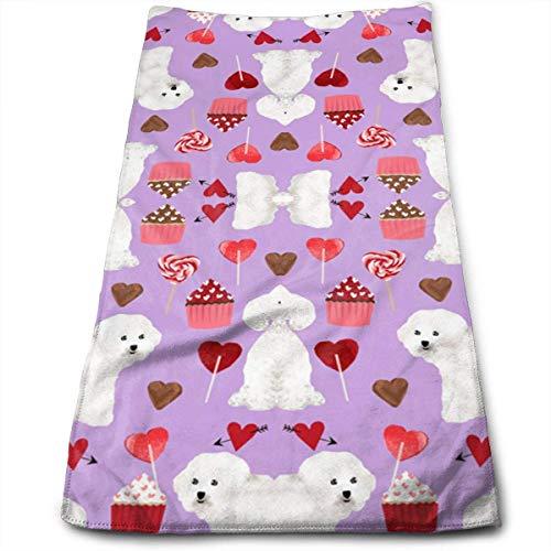 BEDKAGD Bichon Frise Toallas de baño para día de San Valentín para...