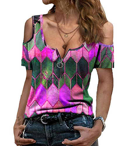 Onsoyours Mujer Camiseta Moda Estampado Geométrico Retro Manga Corta Cuello de Pico...