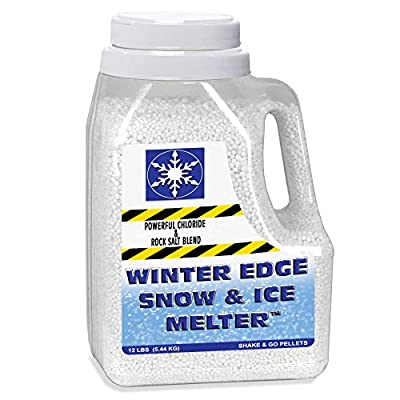 Snow & Ice Melter - Powerful Chloride & Rock Salt Pellet Blend - Contains Magnesium, Calcium and Sodium Chloride - For Sidewalks, Driveways and Other Surfaces - Shaker Jug and Works On Contact