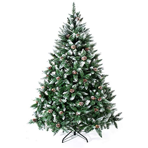 Senjie Artificial Christmas Tree 6,7,7.5 Foot Flocked Snow Trees Pine Cone Decoration Unlit(6 Foot...