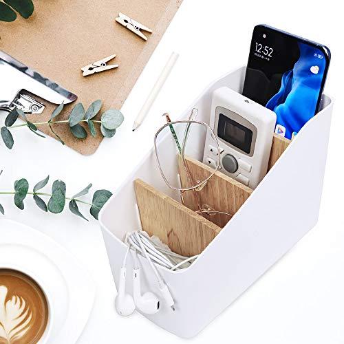 Xnuoyo Schreibtisch-Aufbewahrungsbox, abnehmbarer Bambus-Desktop-Organizer, Fernbedienungshalter Kunststoff Aufbewahrungsbox Home Office-Zubehör Multifunktionaler Schreibtisch-Aufbewahrungsbehälter