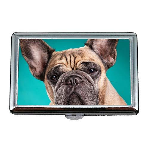 14 Zigaretten Box Aufbewahrungskoffer, Hund Chihuahua Welpe, Edelstahl Kartenhalter