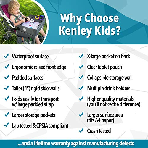 Kenley Kids Travel Tray, Toddler Car Seat Lap Tray, 16.5 x 13.5 Inches (Blue/Gray)